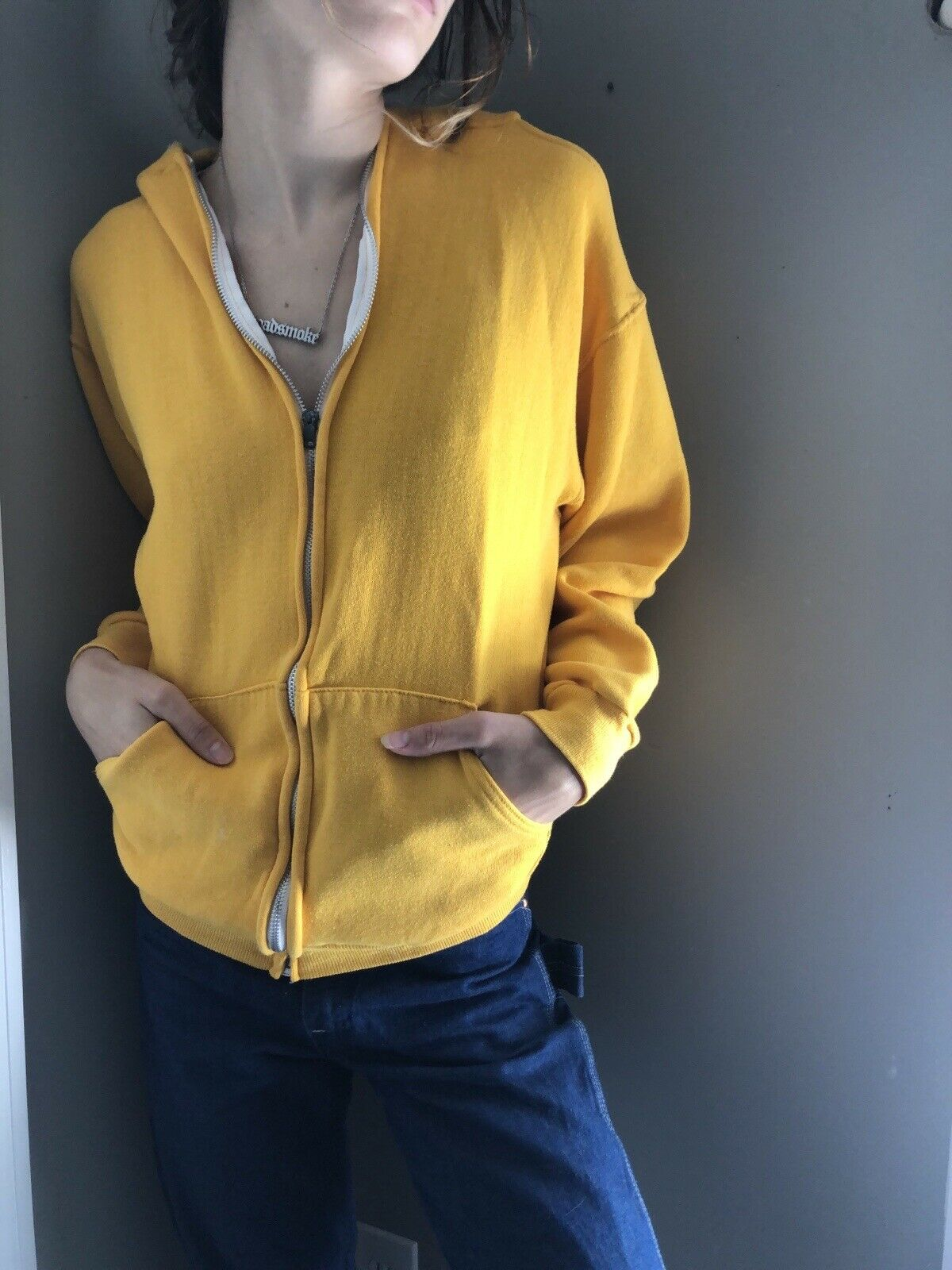 Vtg 70's 80's Russell Athletic Yellow Zip up Hood… - image 4