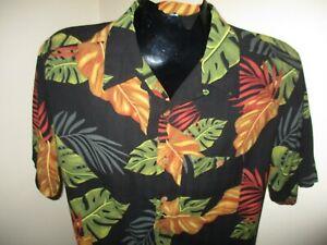 Herren Banana Cabana 100% Seide S/S BUTTON DOWN Hawaii Shirt Größe M Medium
