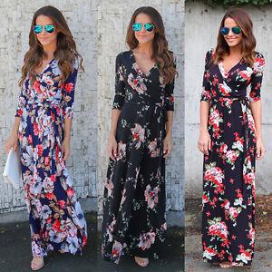 Mode-Damen-Boho-Sommer-Strand-Abend-Party-Cocktail-Lang-Maxi-Kleid-Sommerkleid