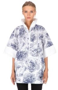 Adidas-Stella-McCartney-Floral-White-Blue-Pull-on-Run-Jacket-Casual-Roses-Sz-M