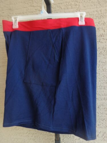 New Just My Size  Cotton Blend Wide Band Stretch Waist Pocket Shorts 4X Navy//Red
