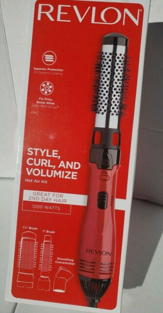 Revlon 2 in 1 Perfect Heat Style Hot Air Brush Curler Blow Dryer Ceramic Red