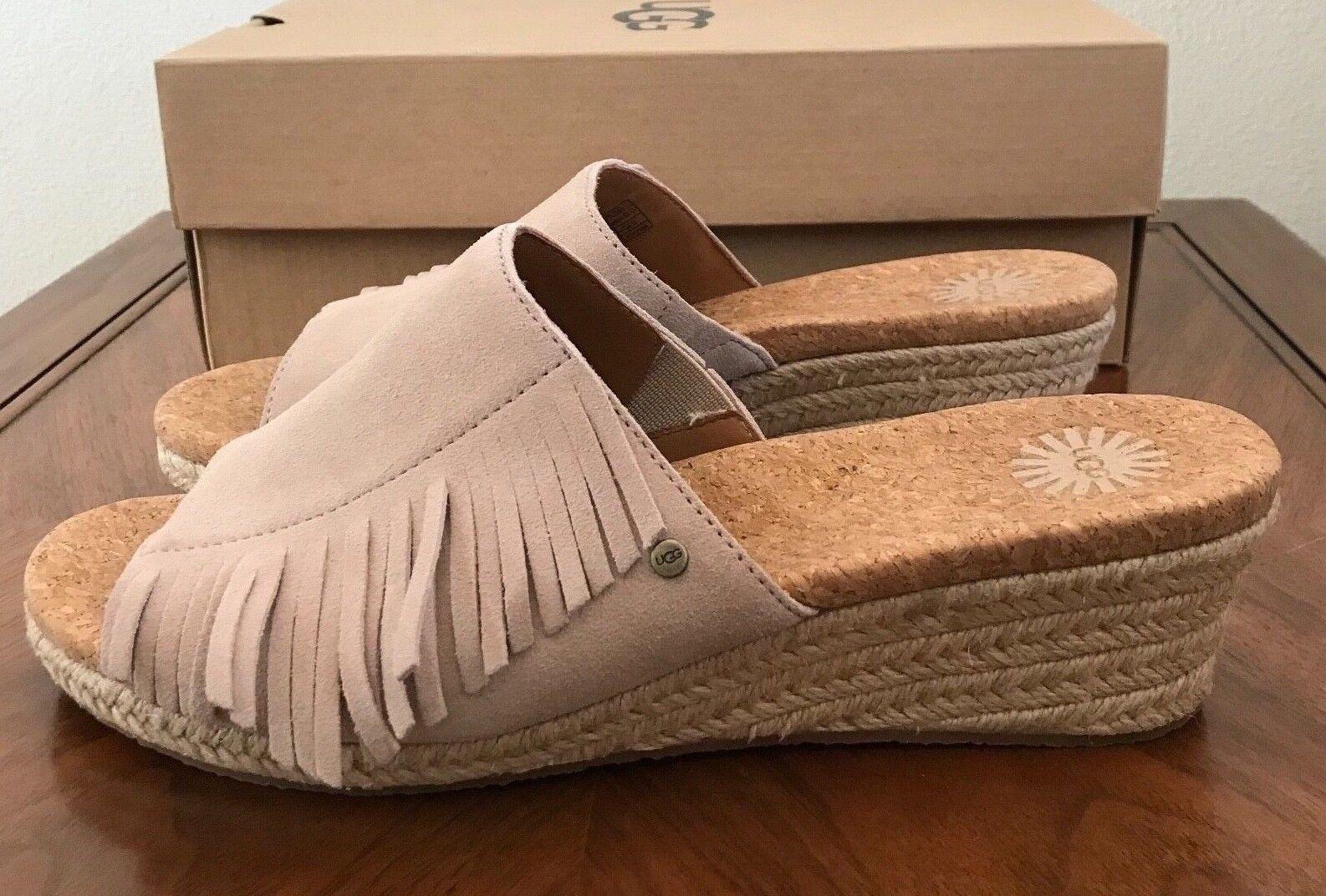 5fe5fa9f096 Size 10 UGG Womens Dane Comfort Wedge Slide Sandals Shoes Suede Fringe Beige