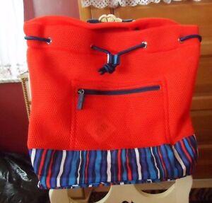3704fb2693 Image is loading Vera-Bradley-Mesh-backpack-in-Orange-Cobalt-Stripe