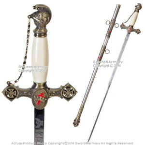 Masonic-Knights-Templar-Ceremonial-Sword-Mason-Antiqued-Brown-Finish-with-Chain