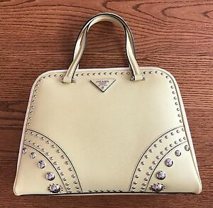 d7bada12c7 NEW! PRADA Yellow   White Saffiano Leather Tote with Metal Studs ...
