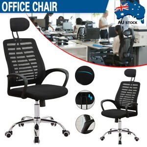 Mesh High Back Executive Office Chair Computer Gaming Chairs Study Seat Black Au Ebay