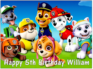 """Paw Patrol Personalised Birthday Cake Topper Edible Wafer Paper A4 7.5/"""" by 10/"""""""