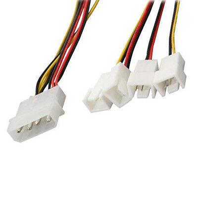 Evercool 4 Pin Molex PSU to 2x 12V 3pin /& 2x 5V 3pin Fan Cable EC-DF003