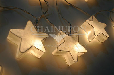 WHITE FANCY STAR PAPER LANTERN STRING LIGHTS DECOR,GIFT,BOY GIRL CHILD BEDROOM