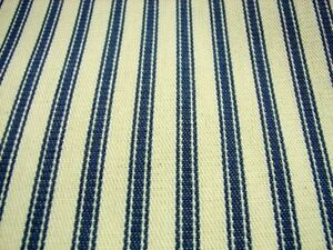 Blue-Cream-Cotton-Canvas-Ticking-Fabric-214cm-BY-THE-MTR