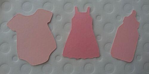 15x paquete mixto de Bebé Rosa Corte salidas chalecos botellas vestido-tarjetas Baby Shower