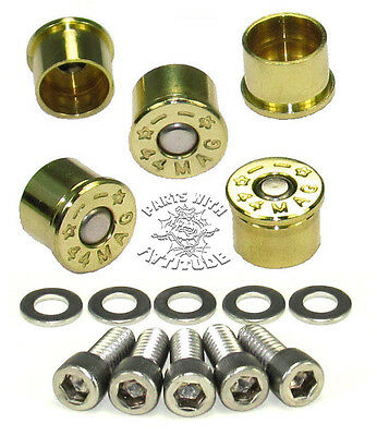 44 MAG BRASS BULLET BOLT CAPS  for HARLEY DERBY COVER  (5 BRASS SHELLS)