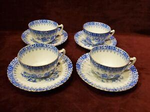 Schumann Arzberg Bavaria China Blau Set of 4 Cups & Saucers