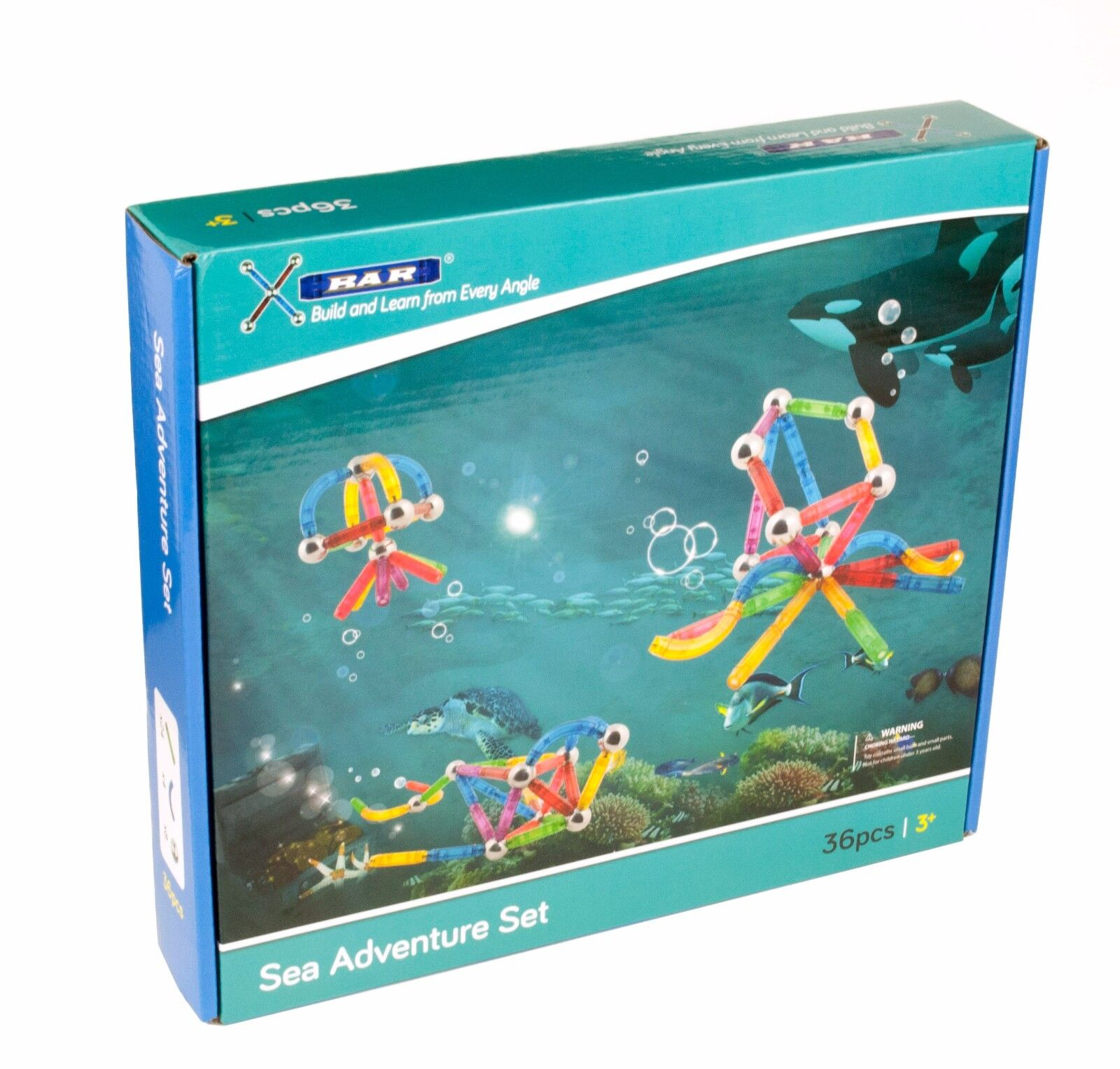 X-Bar Translucent Magnetic Bars and Steel Spheres, 36 Piece Piece 36 Sea Adventure Set dab5e9