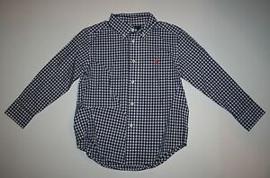 New Ralph Lauren Polo Blue White Check Button Down Dress Shirt Top Size 3T NWT