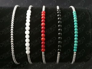 925-Sterling-Silver-Balls-Bracelet-Gemstones-Mini-Beads-Semi-Precious-Stones