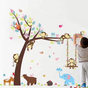 Set-Sticker-Mural-Autocollant-Singe-Arbre-Animal-Decoration-Chambre-Bebe-Enfants
