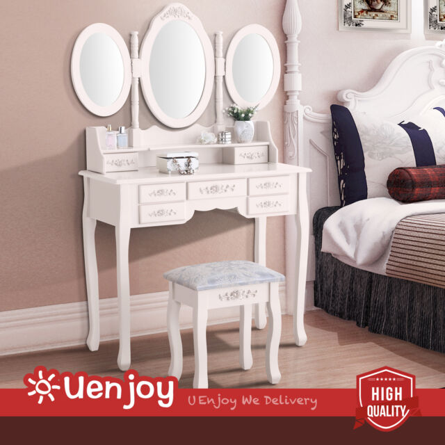 Retro Ivory Dressing Table Vanity Makeup Desk With 7 Drawers 3 Mirrors Stool