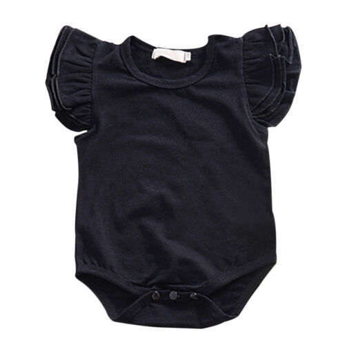 Summer Baby Girl Romper Plain Ruffle Fly Sleeve Bodysuit Jumpsuit Sunsuit Outfit