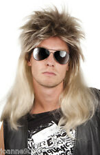 Mens 80s Rod Steward Glam Rock Star Rocker Fancy Dress Costume Blonde Mullet Wig