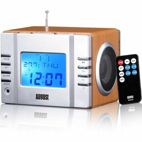 August Classic Alarm Clock Radio MP3 Stereo System with SD Card Reader & USB