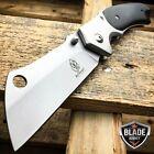 TACTICAL Spring Assisted Open Pocket Knife CLEAVER RAZOR Silver FOLDING Blade