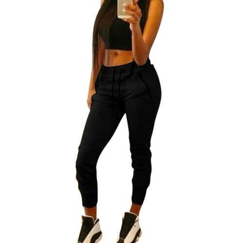 Womens High Waist Straight Cargo Pants Jogger Ladies Skinny Trousers Sports Pant
