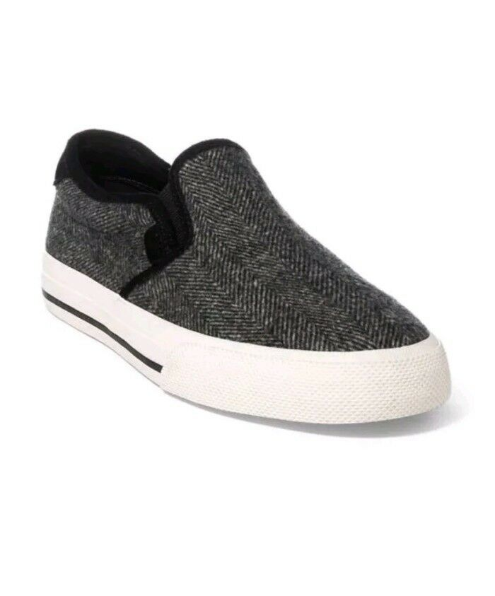 $70 NIB POLO RALPH LAUREN Wool-Herringbone Vaughn Slip-On Sneakers 8 MEN