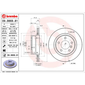 Brembo 09.9869.81 COATED DISC LINE Bremsscheibe 2 Stück