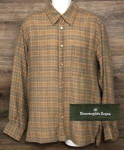 Ermenegildo-Zegna-Men-039-s-Brown-Plaid-Wool-Cotton-Blend-L-S-Button-Front-Shirt-L