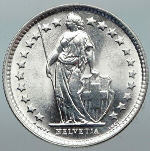 1964B SWITZERLAND HELVETIA Symbolizes SWISS Nation SILVER 1/2 Francs Coin i88413