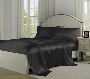 4 Pcs Black Satin Sheets Full Size Soft Silk Feel Bedding Set Luxury