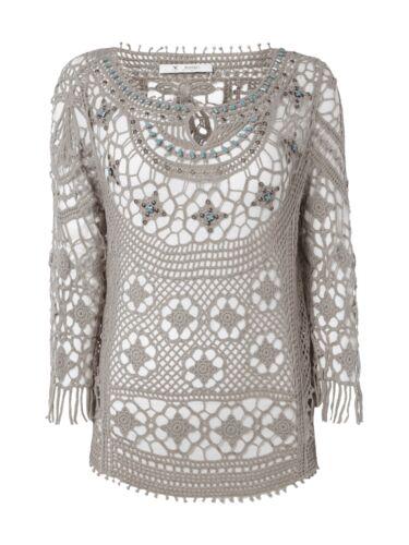 MONARI Shirt De Crochet Dentelle Avec Pierres decoratives Femmes Tricot Boue Taille 36 38