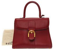 Authentic Delvaux Bleillon Leather Handbag Red 0572