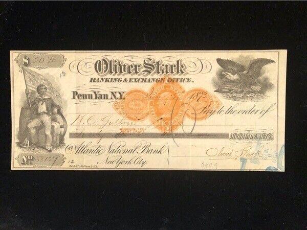 U.S: USED CHECK #RND9 1873 OLIVER STARK BANKING & EXCHANGE OFFICE PENN YAN NY