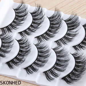 SKONHED-5-Pairs-3D-Messy-Long-False-Eyelashes-Wispy-Flutter-Thick-Cross-Lashes