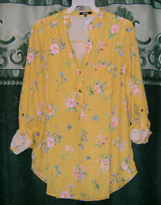 New-Boho-Yellow-or-Wine-Floral-Button-Tab-Sleeve-Western-Tunic-Blouse-Top-S-M-L