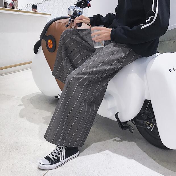 Mens Stripe Loose Wide Leg Pants Linen Straight Trousers Autumn Long Trousers T7