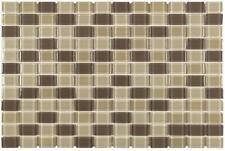 MTO0407 4PK Peel and Stick Linear Brick Khaki Brown Glossy Vynil Mosaic Tile