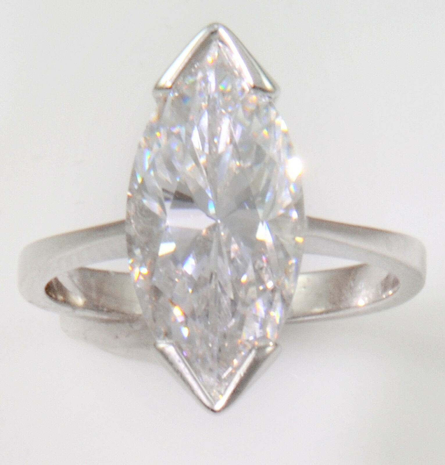 1 ct Marquise Ring Vintage Top Russian CZ Moissanite Simulant SS Size 5