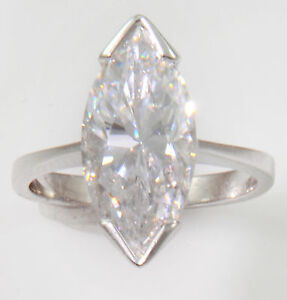 4-ct-Marquise-Ring-Vintage-Top-Russian-CZ-Moissanite-Simulant-SS-Size-10