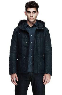 New Armani Exchange AX Mens Muscle/Slim Fit Padded Faux Leather Coat