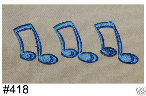 3PCS~BLUE MUSIC NOTES~IRON ON EMBROIDERED APPLIQUES