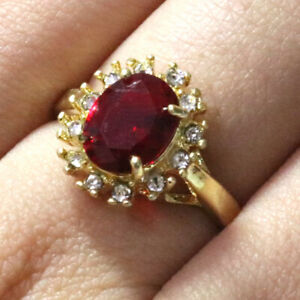 740444b750526a 2.25 Ct Oval Red Ruby Halo Ring Women Wedding Jewelry Gift 14K ...
