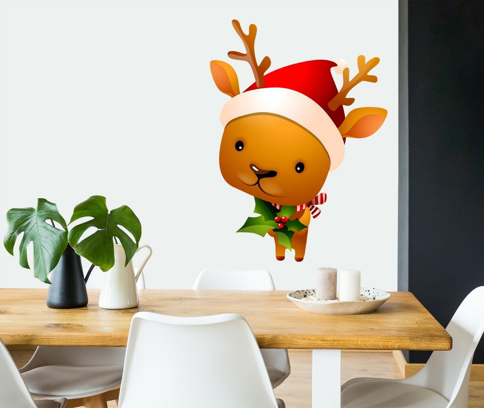 3D Xmas Cartoon Deer B08 Christmas Wallpaper Murals Wall Print Decal Wall Zoe