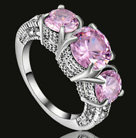 Size 9 Pink Sapphire Solitaire with Accents Engagement Ring White Gold Filled