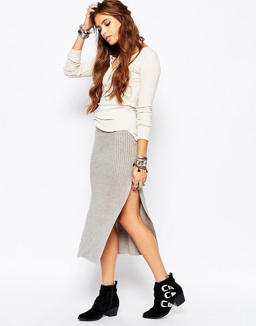 NWT  128 Free People Felix Rib Maxi Skirt with Slits Light Grey,sz.L