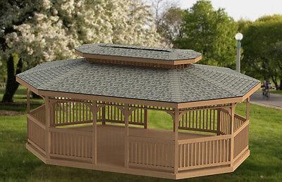 16 X 24 Oval Garden Gazebo With Hip Roof Building Plans Ebay