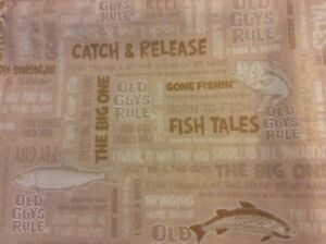FABRIC-Cotton-Brown-Fish-Word-Old-Guys-Rule-Men-Log-Cabin-Water-44-034-w-sold-BTY